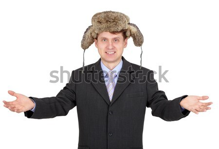 Hospitable russian businessman in fur hat Stock photo © pzaxe