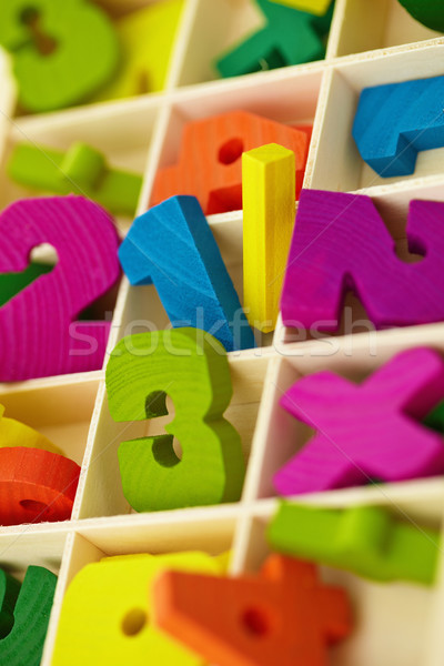 Wooden box with toy characters and numerals Stock photo © pzaxe
