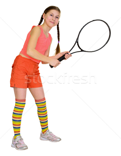 Little girl with tennis racket isolated on white background Stock photo © pzaxe
