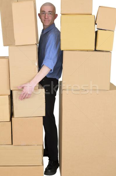 Messenger cartone scatole uomo muri muro Foto d'archivio © pzaxe