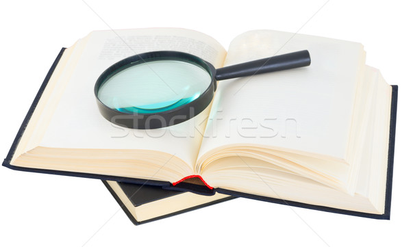 Books and magnifying glass Stock photo © pzaxe