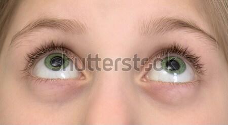 Stock photo: Very big green girl's eyes