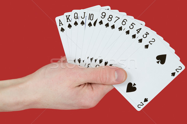 Playing cards on hands Stock photo © pzaxe