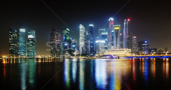 Night Singapore skyscrapers shines with lights Stock photo © pzaxe