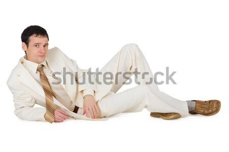 Stockfoto: Denken · jonge · man · geïsoleerd · witte · achtergrond