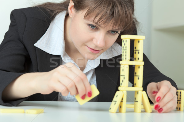 Stock fotó: Fiatal · nő · torony · csontok · asztal · lány · asztal