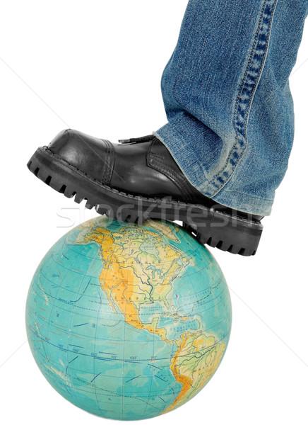 Boot on globe Stock photo © pzaxe