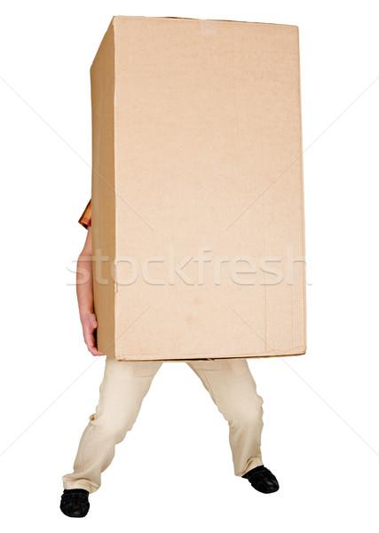 Man holding very heavy brown cardboard box Stock photo © pzaxe