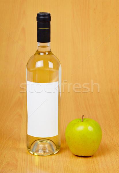 Butelki jabłecznik jabłko tabeli drewniany stół żywności Zdjęcia stock © pzaxe