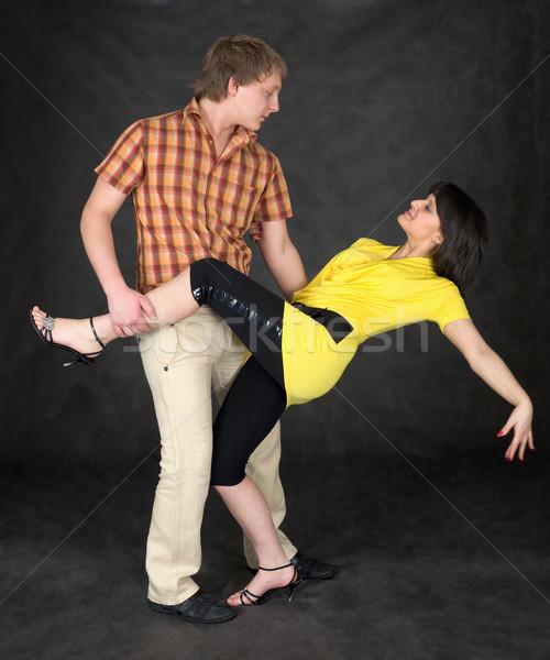 Pareja baile tango negro nina sonrisa Foto stock © pzaxe