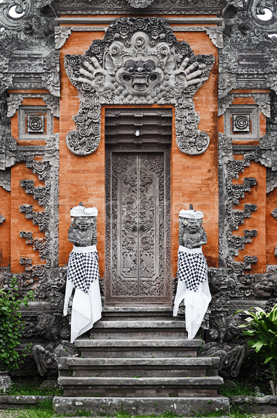 Door - traditional asian Balinese carved Stock photo © pzaxe