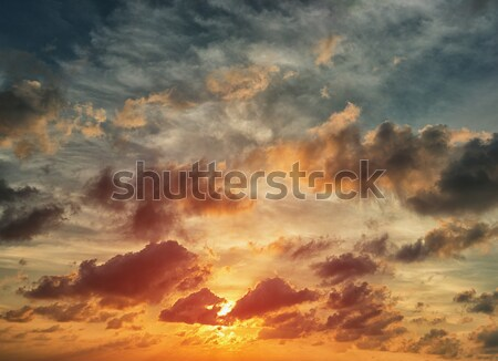 Evening sunset with orange cloud scape. Stock photo © pzaxe