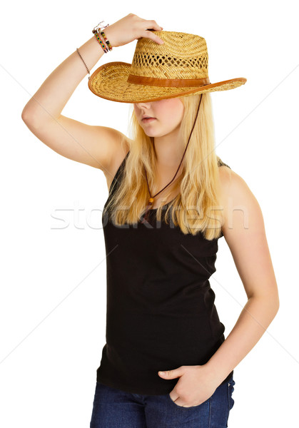 Young pale girl in old-fashioned straw hat Stock photo © pzaxe