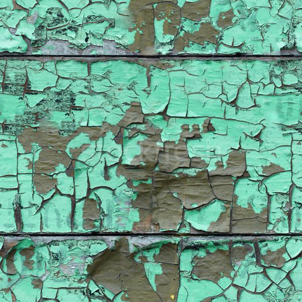 ひびの入った エナメル 表面 木製 塗料 緑 ストックフォト © pzaxe