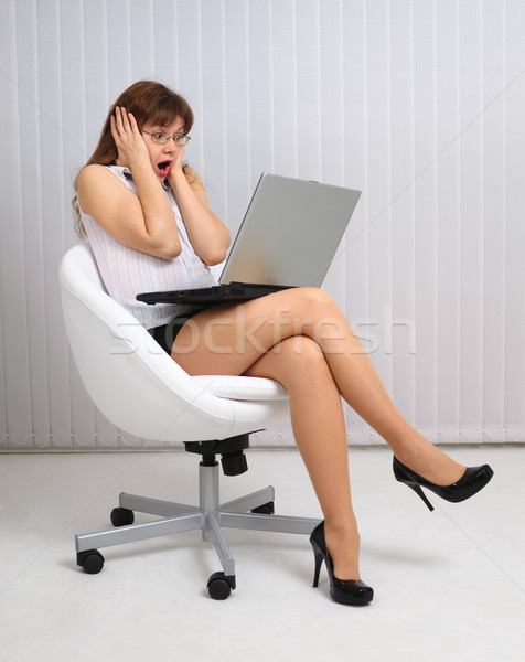 Woman in horror looking at laptop screen Stock photo © pzaxe