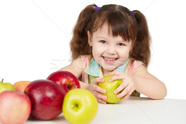 счастливым ребенка яблоки Витамины белый ребенка Сток-фото © pzaxe