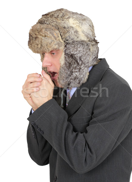 Freezing businessman in fur hat on white background Stock photo © pzaxe