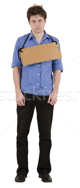 Man with carton tablet on neck Stock photo © pzaxe