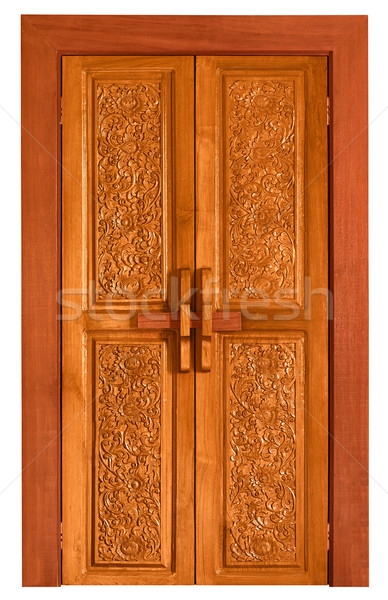 Old wooden door with carvings Stock photo © pzaxe
