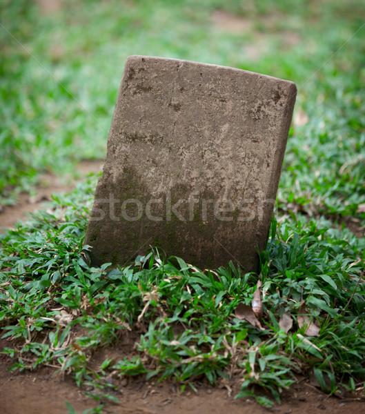 Velho pequeno lápide folha pedra retro Foto stock © pzaxe