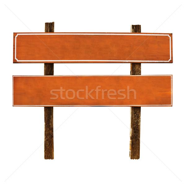 öreg fából készült fogkő turisták izolált fehér Stock fotó © pzaxe