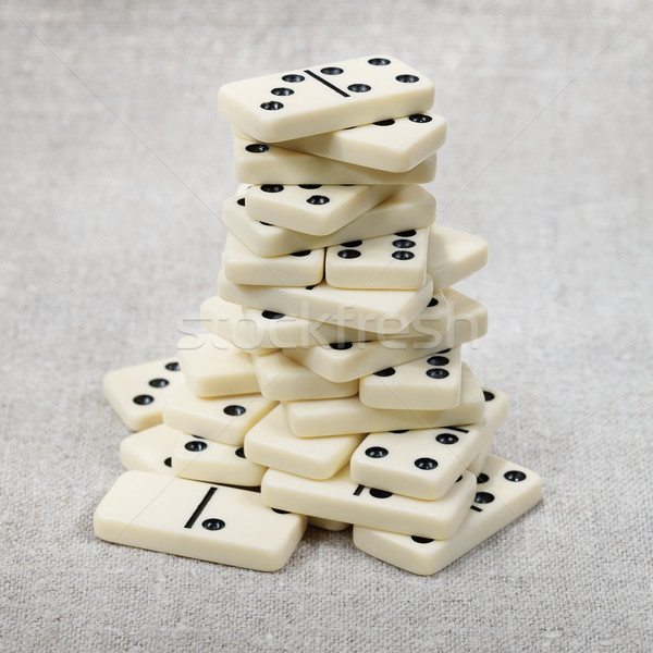Big heap of ancient counters of dominoes Stock photo © pzaxe