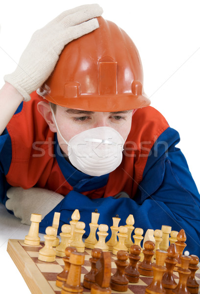 Labourer with chess  Stock photo © pzaxe