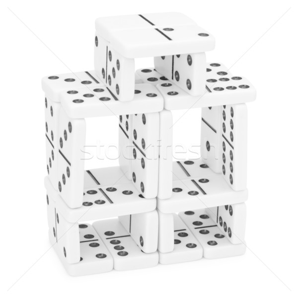 Intricate construction of dominoes Stock photo © pzaxe