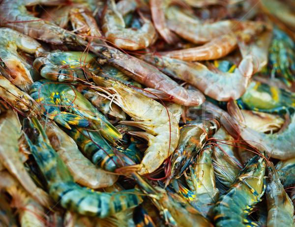 Shrimps on the market counter Stock photo © pzaxe