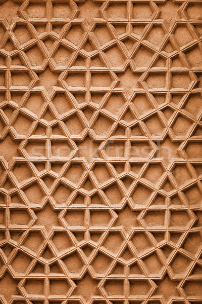 Indian ornament with Arabic motifs. Stone carving from Agra Stock photo © pzaxe