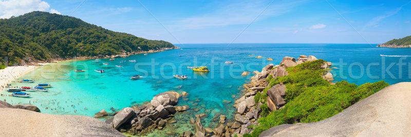 Gyönyörű trópusi tengerpart szigetek Thaiföld kék kék ég Stock fotó © pzaxe