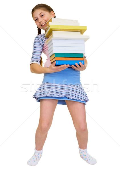 Groß Lehrbücher Schülerin Hand Buch Stock foto © pzaxe