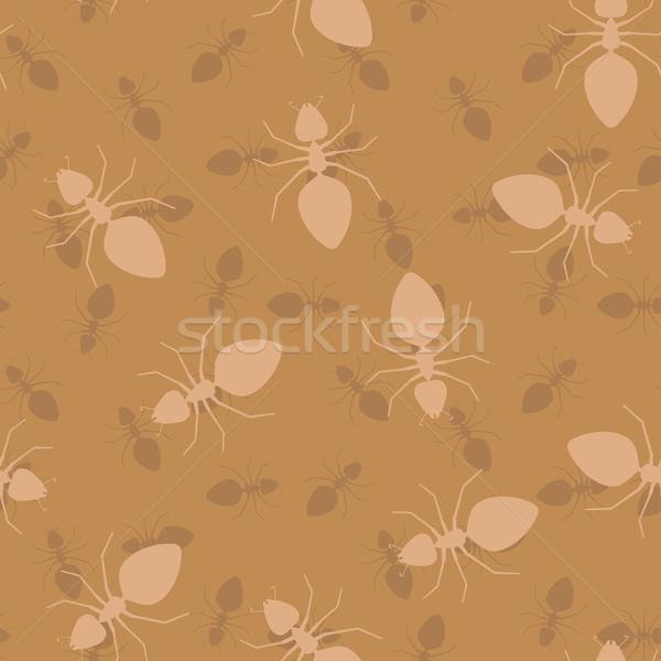Egyszerű végtelenített vektor textúra hangyák rovarok Stock fotó © pzaxe