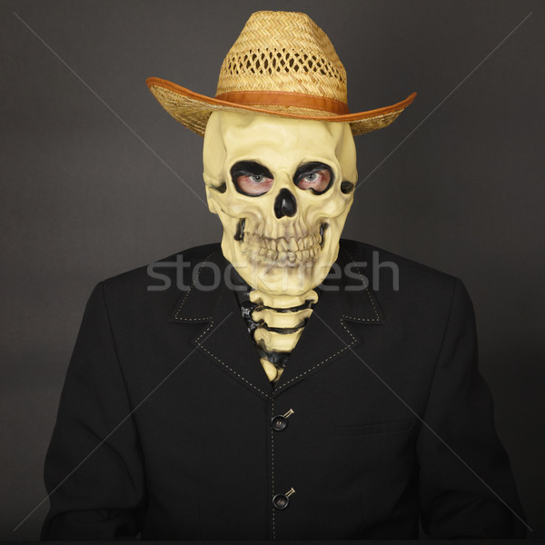 Skeleton in straw hat Stock photo © pzaxe