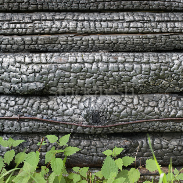 Black charred wall Stock photo © pzaxe
