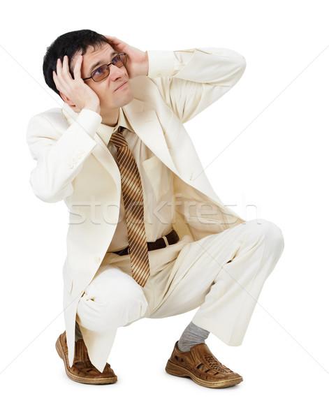 Assustado moço branco terno fundo empresário Foto stock © pzaxe