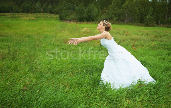 Bride hastens towards to groom on meadow Stock photo © pzaxe