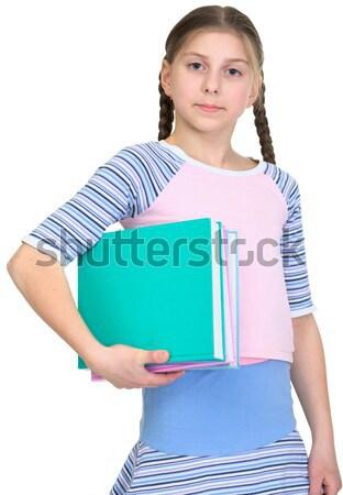 Ыchoolgirl has large armful of books Stock photo © pzaxe