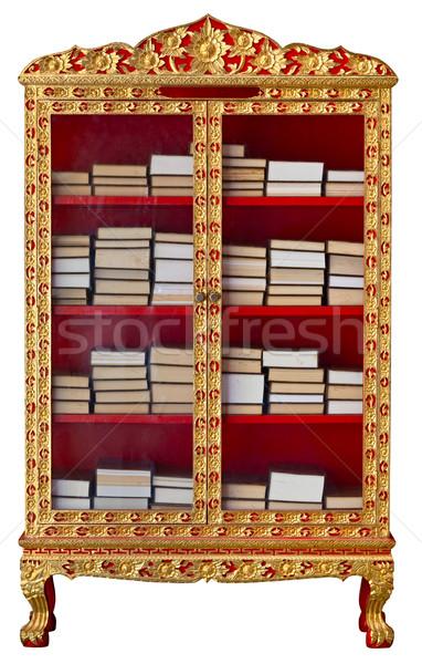 Antika dolap budist meditasyon kitaplar yaldızlı Stok fotoğraf © pzaxe