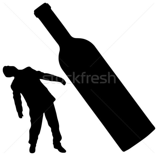 человека бутылку вино черный белый Сток-фото © pzaxe