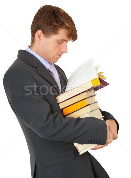 Stock fotó: Férfi · olvas · könyv · könyvtár · áll · üzlet