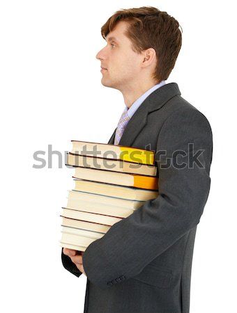 Stockfoto: Jonge · man · boeken · arm · witte · business · man