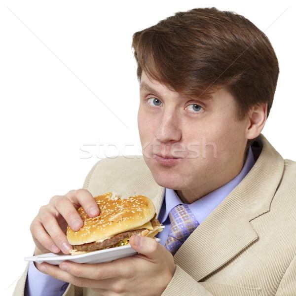 Stock fotó: Fiatal · üzletember · vacsora · izolált · fehér · étel