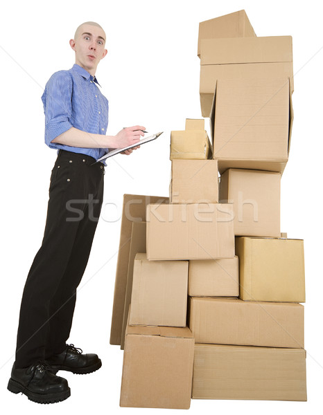 Man and pile cardboard boxes Stock photo © pzaxe
