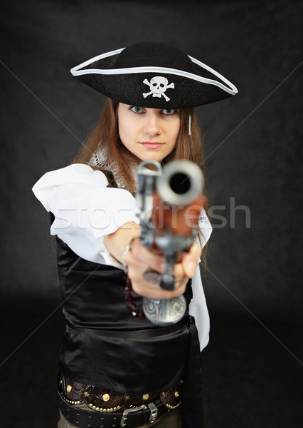 Femme pirate anciens pistolet fille mode Photo stock © pzaxe