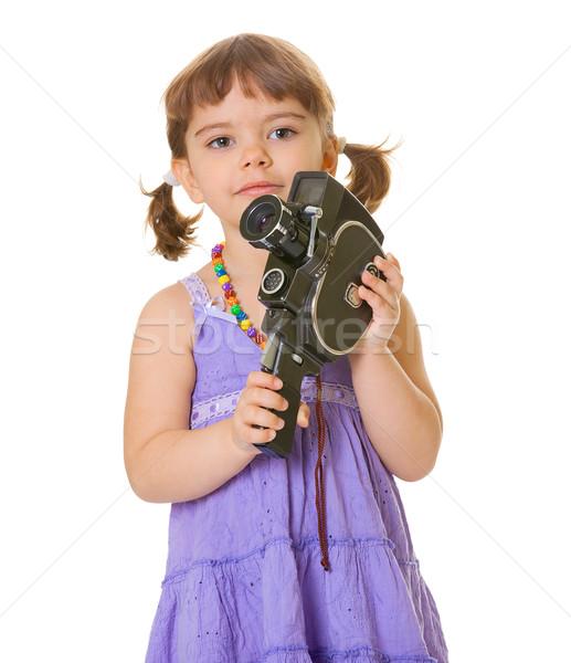 Nieuwsgierig kind oude filmcamera handen geïsoleerd Stockfoto © pzaxe