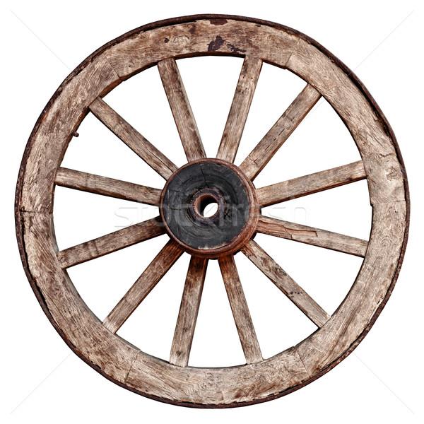 古い 木製 ワゴン ホイール 白 孤立した ストックフォト © pzaxe