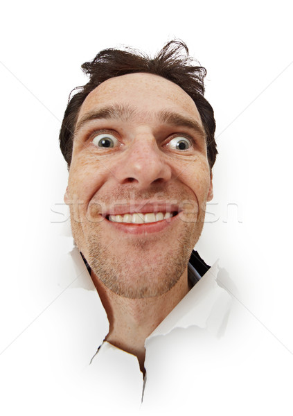 Crazy funny man opened his eyes Stock photo © pzaxe