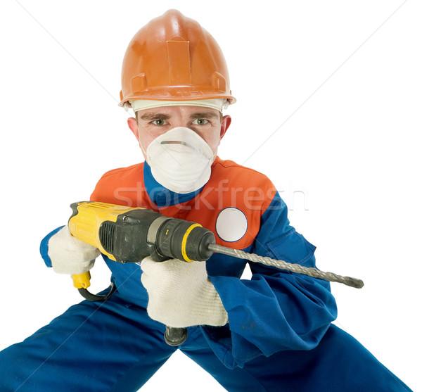 Arbeider hand boor helm witte man Stockfoto © pzaxe