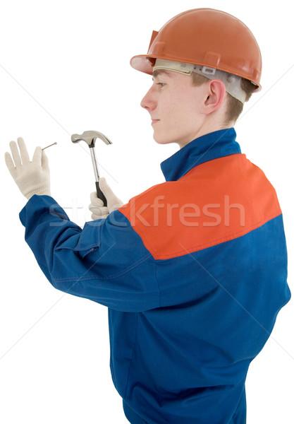 építész férfi munkás ruha kalapács szög Stock fotó © pzaxe